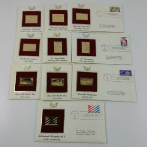 10-first-day-of-issue-22k-replica-stamps-gold-united-states-stamps-80s-lot-7