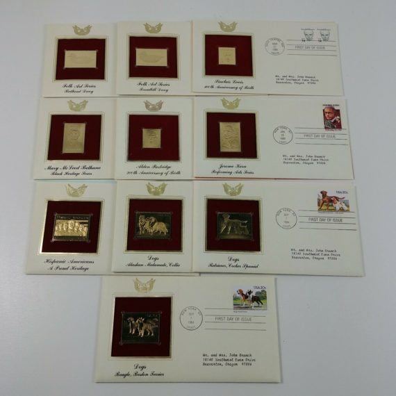 10-first-day-of-issue-22k-replica-stamps-gold-united-states-stamps-80s-lot-9