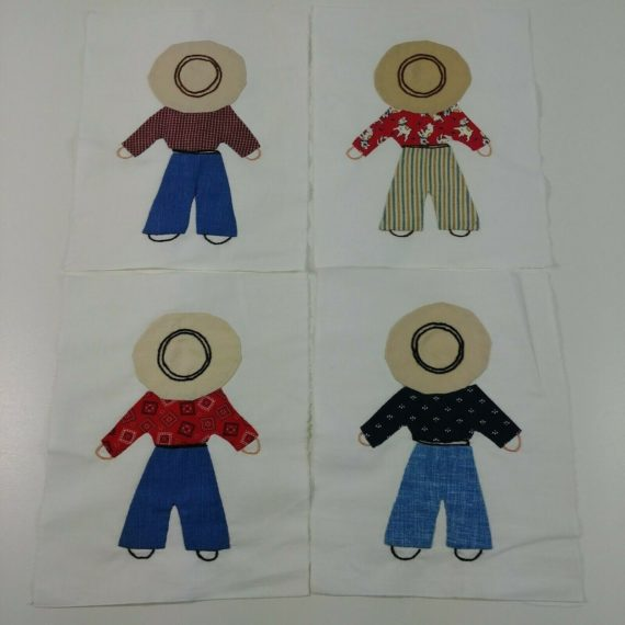 18-quilt-blocks-applique-embroider-handmade-7-x-8-3-4-farmer-people-hats
