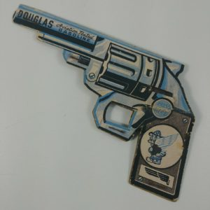 1950-douglas-aviation-tested-gasoline-flicker-cardboard-toy-premium-pistol-works