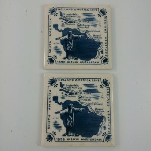 2-holland-america-line-delft-3-7-8-square-coasters-tile-souvenir-lot-34