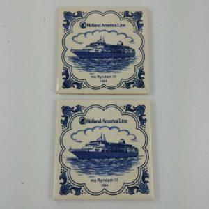 2-holland-america-line-delft-3-7-8-square-coasters-tile-souvenir-lot-35