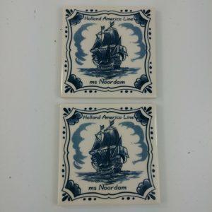 2-holland-america-line-delft-3-7-8-square-coasters-tile-souvenir-lot-36