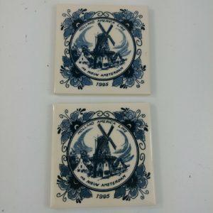 2-holland-america-line-delft-3-7-8-square-coasters-tile-souvenir-lot-37