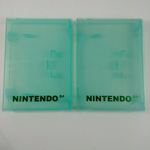 2-lot-nintendo-64-clear-green-game-cartridge-cases-n64-lot-2