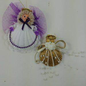 2-real-sea-shell-angel-beach-christmas-ornaments-handmade-purple-beads-lot-09