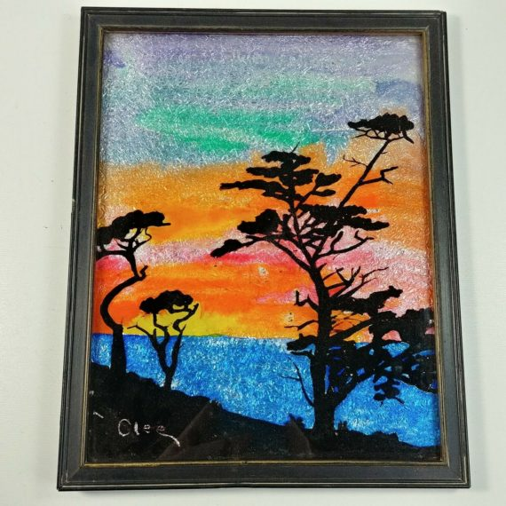 2-reverse-painting-glass-silhouette-crushed-foil-art-backing-sunset-olee-vintage