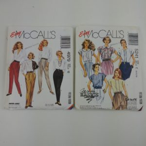 2-womens-easy-mccalls-sewing-patterns-sz-10-14-collared-blouse-slacks-pants