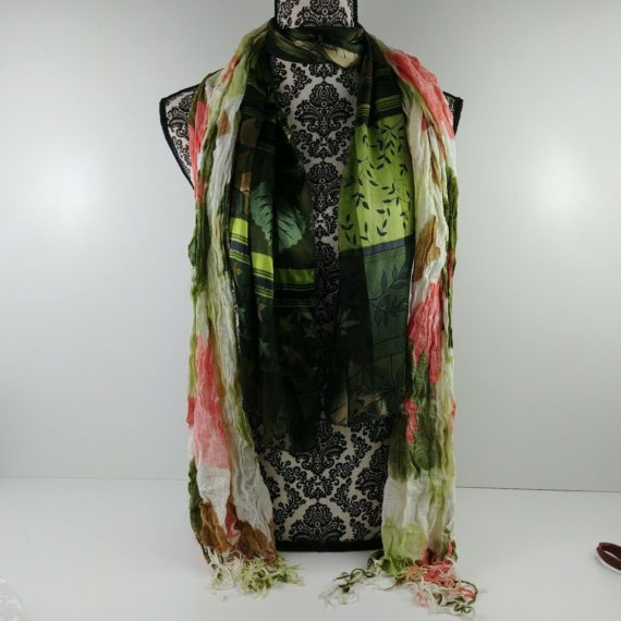 2-womens-fashion-scarves-green-floral-leaves-sheer-light-green-pink-fringe