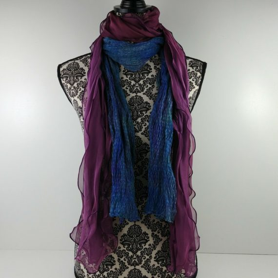 2-womens-fashion-scarves-purple-sheer-layered-teal-blue-green