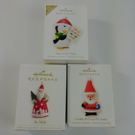 3-hallmark-ornaments-cookies-and-cocoa-st-nick-sign-of-the-times-lot-2