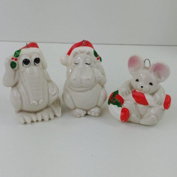 3-lot-hand-painted-fitz-floyd-japan-hippo-mouse-crocodile-christmas-ornaments