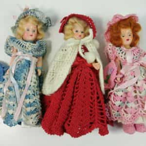3-vintage-7-5-dolls-1940s-hard-plastic-sleep-eyes-pre-barbie-crochet-outfits