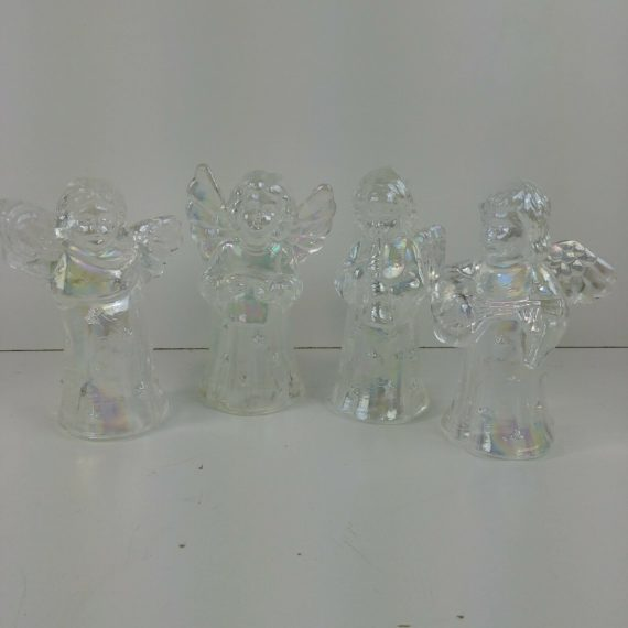4-iridescent-candle-holders-glass-angel-playing-instruments-harp-mandolin