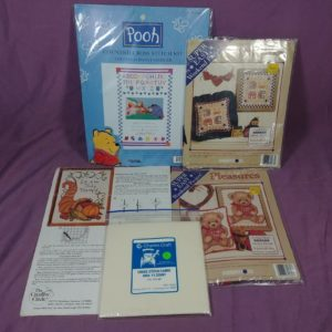 5-cross-stitch-lot-sealed-and-opened-kits-graph-and-fabric