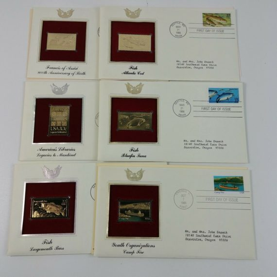 6-first-day-of-issue-22k-replica-stamps-gold-united-states-stamps-80s-lot-17