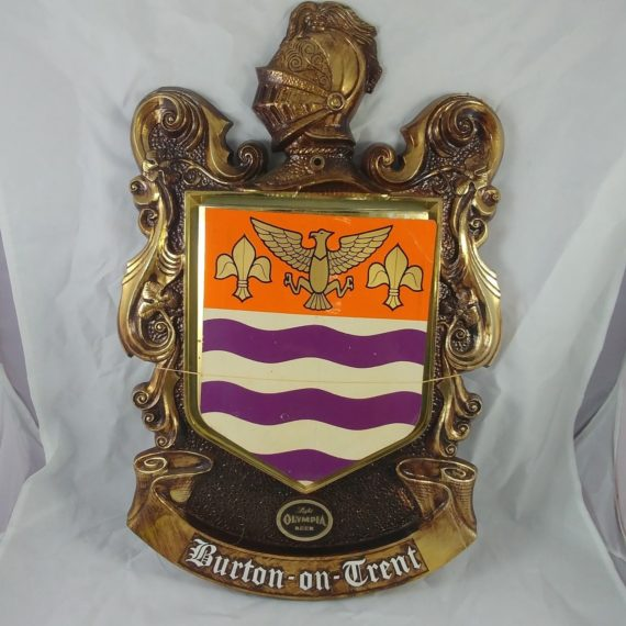 70s-light-olympia-beer-3-d-plastic-coat-of-arms-burton-on-trent-man-cave