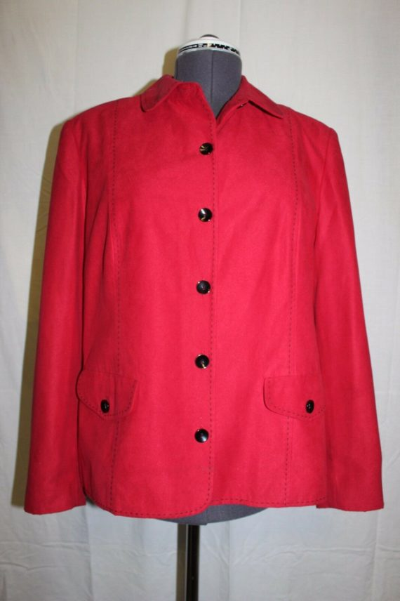 alfred-dunner-red-button-up-peacoat-jacket-womens-size-14-100-polyester