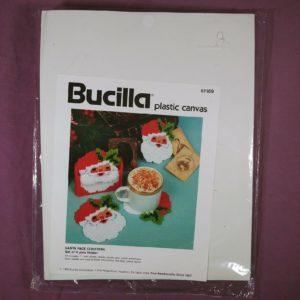 bucilla-plastic-canvas-santa-face-coasters-craft-set-of-6-plus-holder-new