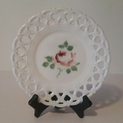 canton-milk-glass-8-5-painted-rose-floral-plate-triple-forget-me-not-a11