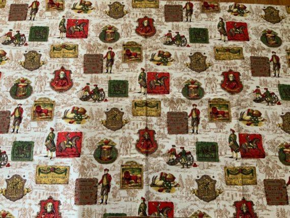 dupont-savalux-vintage-barkcloth-fabric-colonial-motif-toile-horse-inn-lion