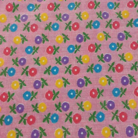 floral-quilting-fabric-yellow-blue-red-purple-flowers-pink-background-4-5-yards