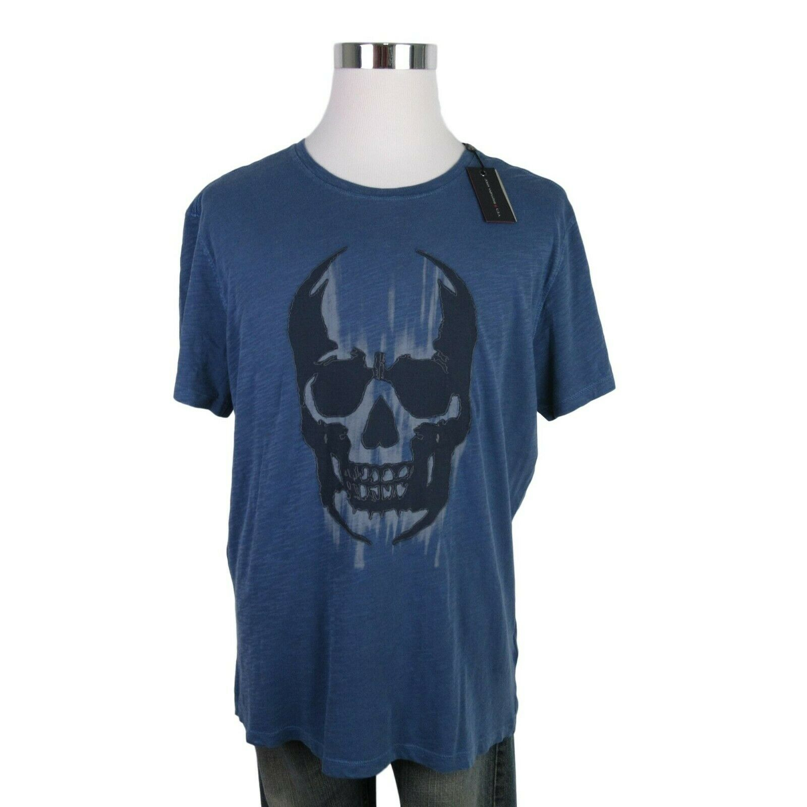 6e26f242 John Varvatos Star USA Skull Graphic Blue Cotton T-Shirt Size XL $88