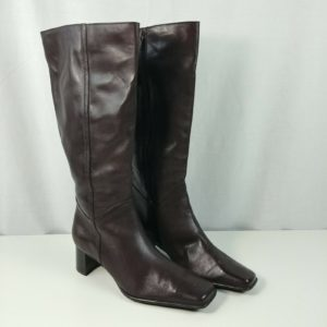 kb-company-kelly-womens-brown-leather-mid-calf-zip-block-heel-boots-size-8-5m