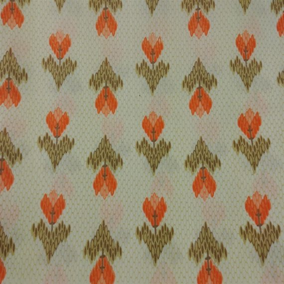 kenmill-textile-corp-beige-brown-geometric-orange-flowers-tulips-vintage-fabric