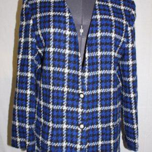 koret-womens-blue-black-white-plaid-patterned-blazer-size-large