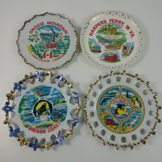 lot-of-4-vintage-souvenir-plates-decorative-collectible-travel-canada-sea-world