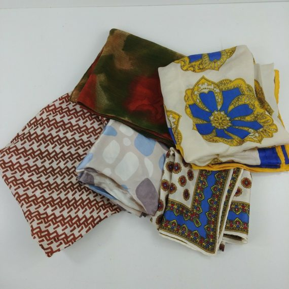 lot-of-5-vintage-geometric-floral-polyester-acetate-silky-scarves-brown-red