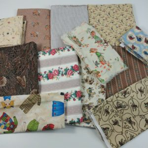 lot-of-beige-tan-fabric-western-floral-cows-stripes-birds-cats-clothes