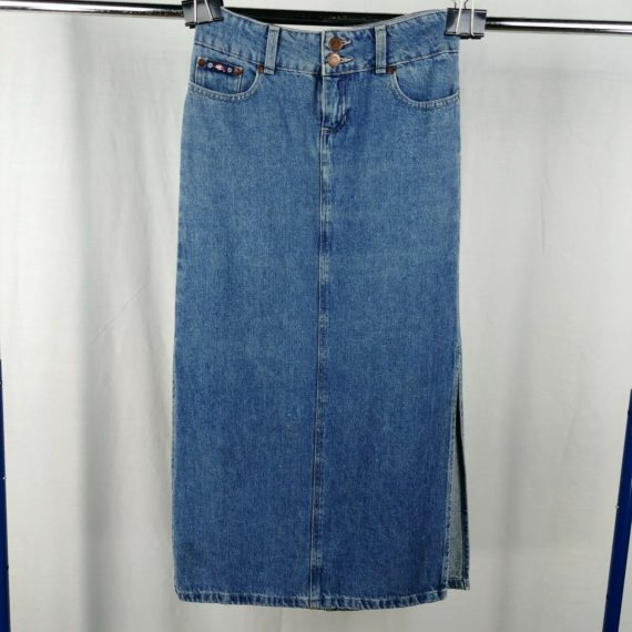 me-long-jean-denim-maxi-skirt-girls-size-14-100-cotton-2-side-slits