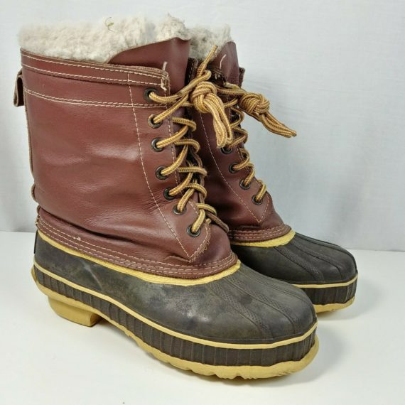 mens-size-4-felt-lined-lace-up-rod-gun-winter-boots-brown-durable-winter