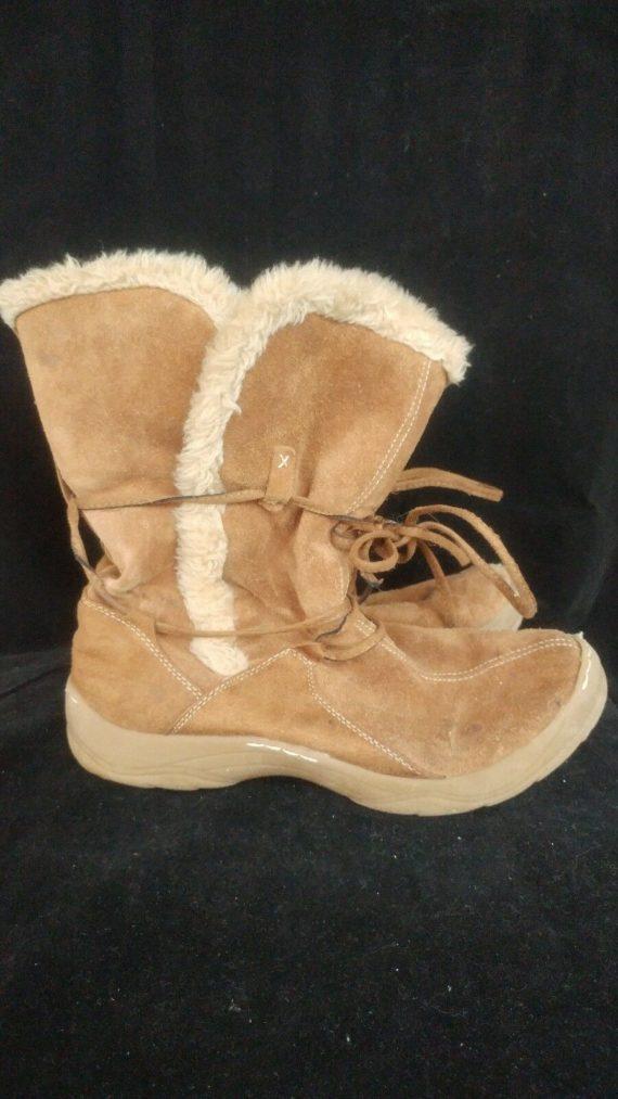 merona-size-9-women-brown-tan-suede-boots-waterproof-soles-fuzzy-inside