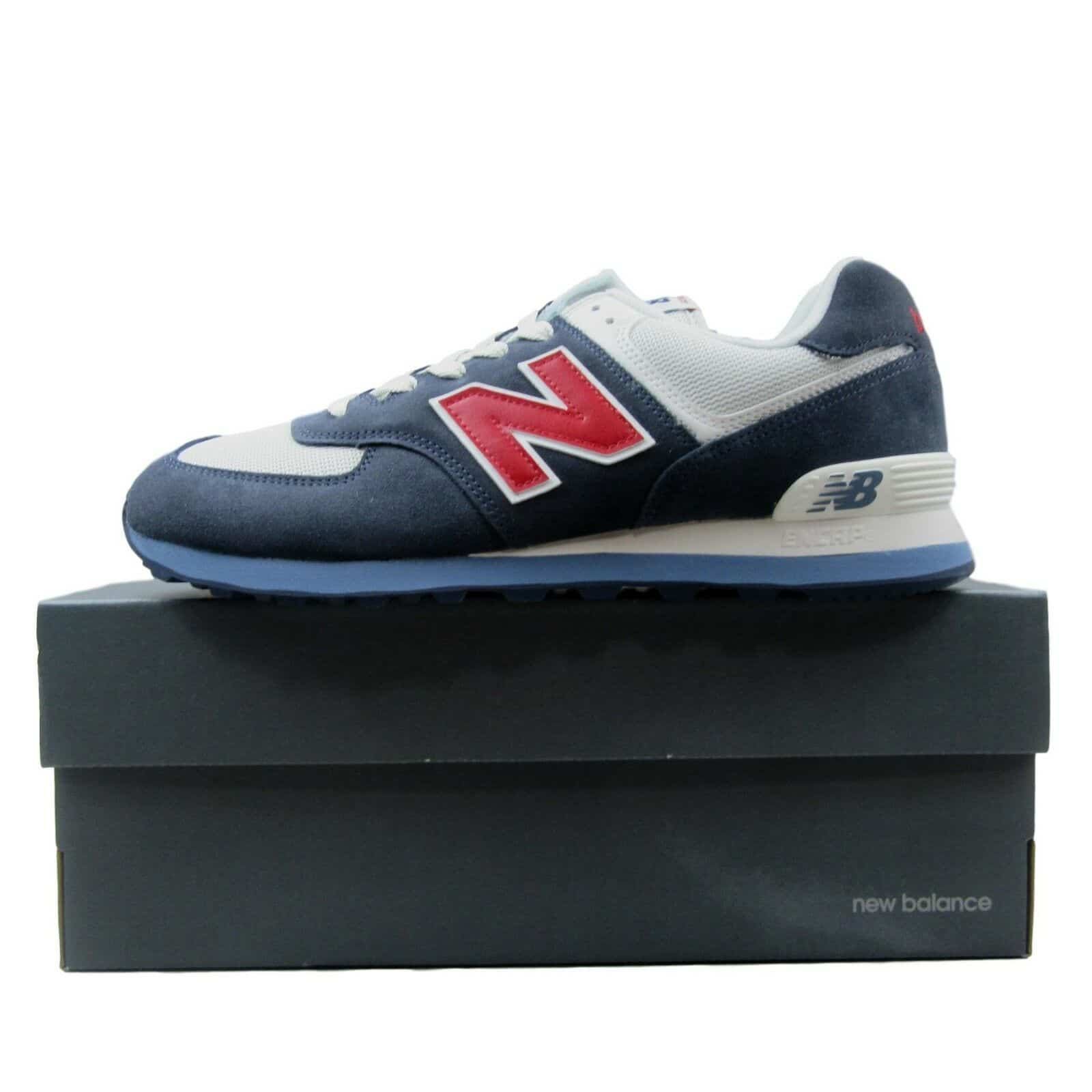 4aa9084561a04 New Balance 574 Classics Sneakers Mens Navy Blue White Red ML574ESC ...