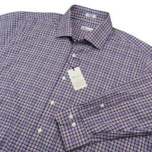 peter-millar-crown-ease-check-blue-pink-sport-shirt-wrinkle-resistance-size-xl