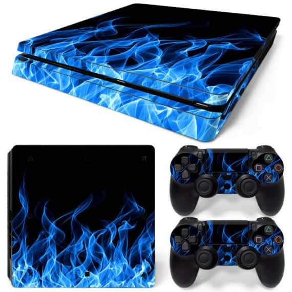 ps4-slim-skin-console-2-controllers-blue-flame-decal-vinyl-wrap