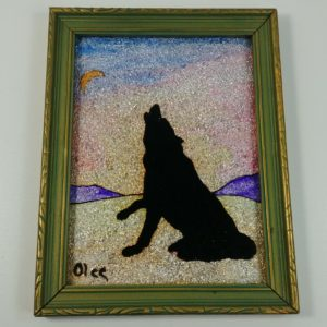 reverse-painting-glass-silhouette-crushed-foil-art-backing-coyote-olee-vintage
