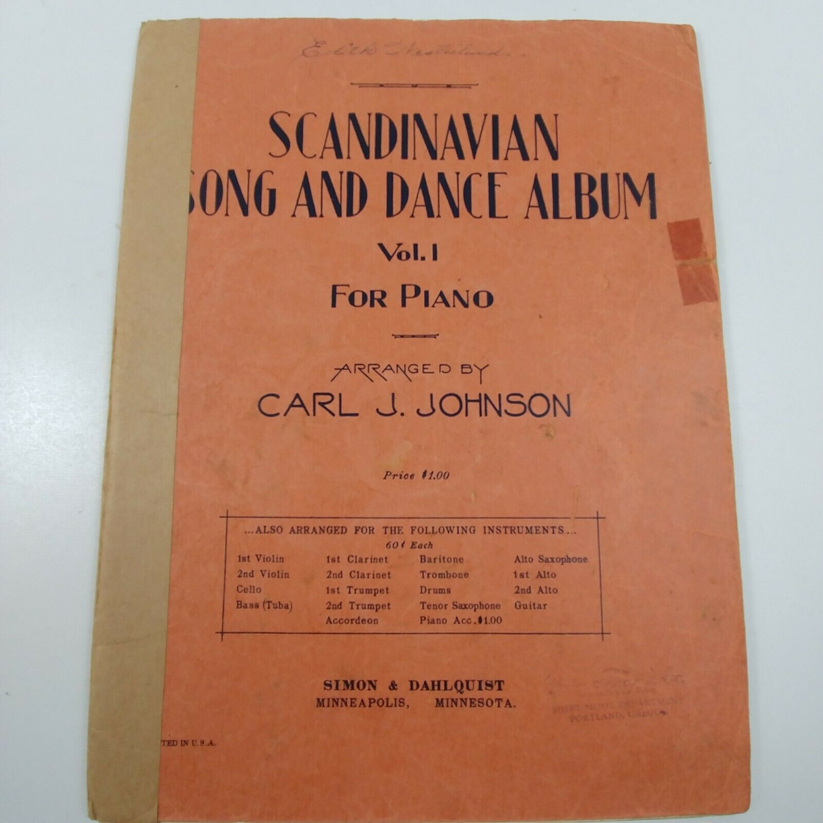 Scandinavian Song and Dance Album Vol  1 Piano Carl Johnson Vintage Sheet  Music