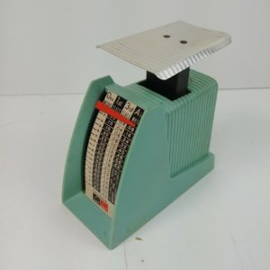 teal-hanson-1-pound-mail-scale-vintage-working-condition-ozs-1st-class-air