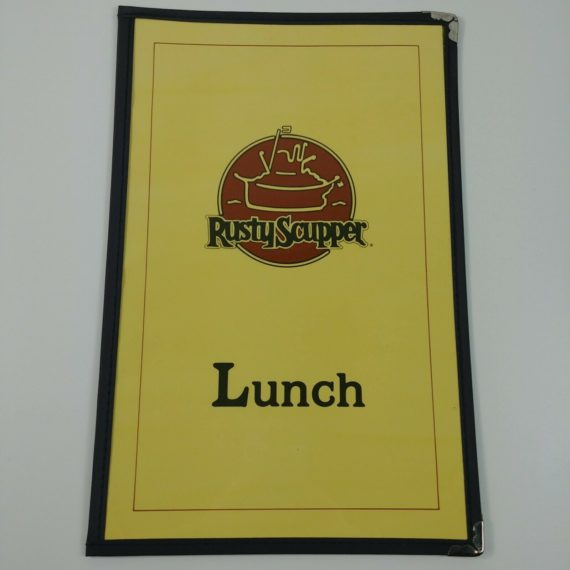 the-rusty-scupper-lunch-menu-tug-boat-2-view-stitched-cover-fabric-edge-vintage
