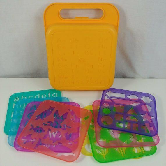tupperware-yellow-gold-school-kit-lunch-box-8-stencils-1987-dart-ind-tuppertoys