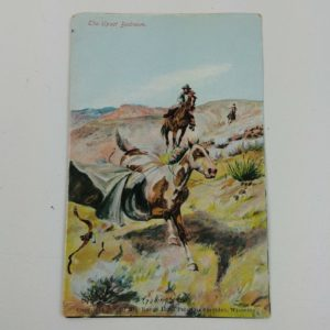 upset-bedroom-elling-william-bill-gollings-cowboy-horse-art-artist-postcard