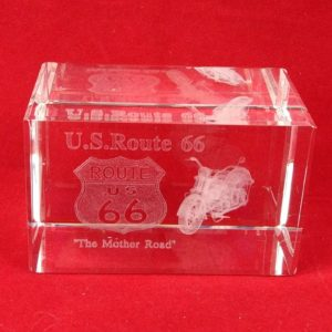 us-route-66-motorcycle-3d-paperweight-crystal-glass-laser-etched-hologram