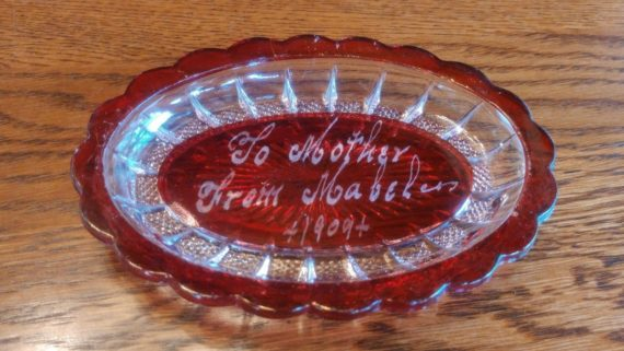 vintage-1909-decorative-red-glass-dish-to-mother-from-mabel