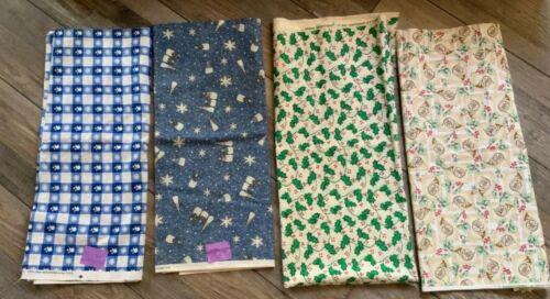 vintage-christmas-fabric-cotton-lot-of-4