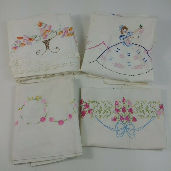 vintage-embroidered-pillowcases-sets-pink-purple-orange-blue-floral-needlepoint