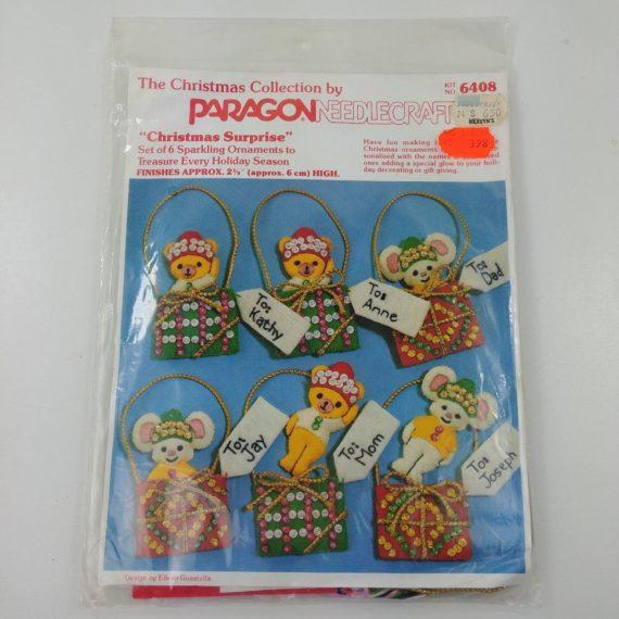 vtg-paragon-needlecraft-christmas-kit-elves-beaded-sequins-ornaments-nos-kit